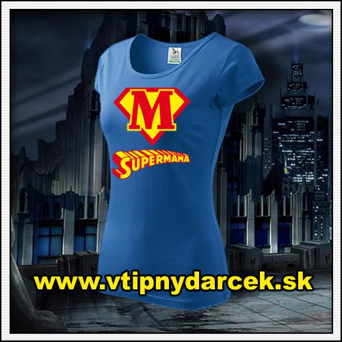 Rodinne tričká Supermama ako vtipný darček pre mamu k narodeninám