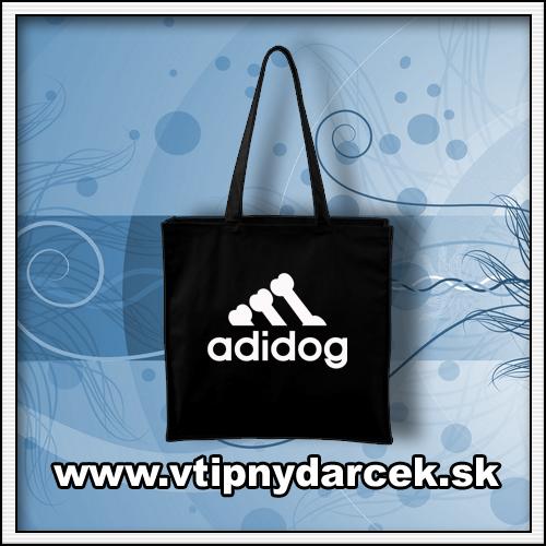 Vtipné tašky s vtipnou potlačou ADIDOG ako originálny vtipný darček