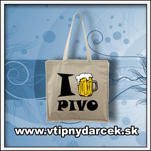 Vtipné tašky s vtipnou potlačou I LOVE BEER ako pivný darček pre muža