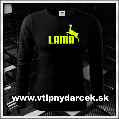 Originálne vtipné tričko s potlačou LAMA a žltou neónovou potlačou ako vtipné darčeky
