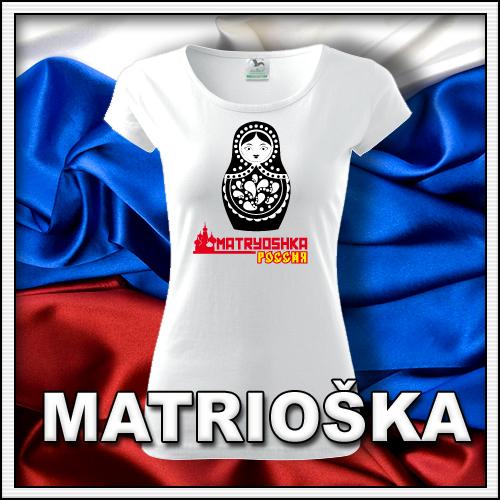 Dámske retro tričko Matrioška, retro darčeky matryoshka či matrjoška