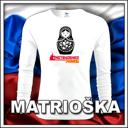 Pánske dlhorukávové retro tričko Matrioška, retro darčeky matryoshka či matrjoška