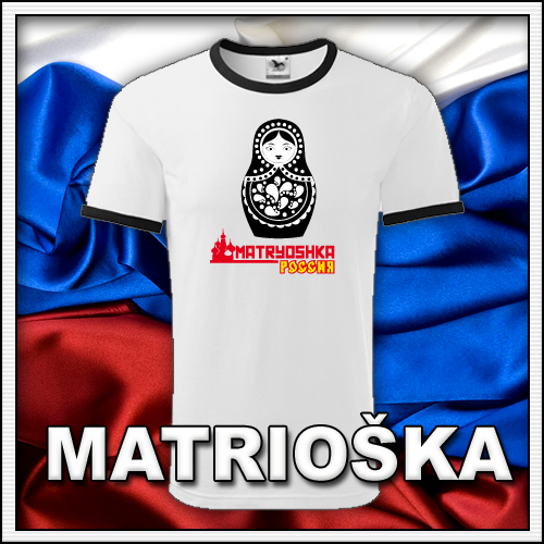 Pánske retro tričko Matrioška, retro darčeky matryoshka či matrjoška