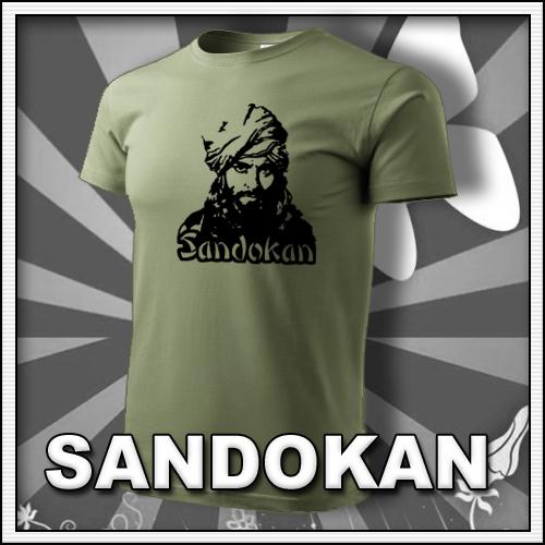 Pánske khaki retro tričko Sandokan, retro darčeky pre mužov so Sandokanom