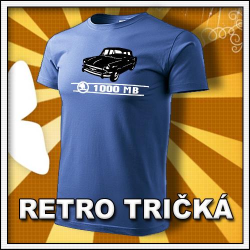Retro tričko Škoda 1000 MB ako moto retro darčeky pre muža a ženu k narodeninám