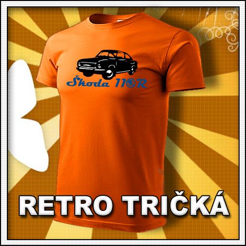 Retro tričko Škoda 110R ako moto retro darčeky pre muža a ženu k narodeninám