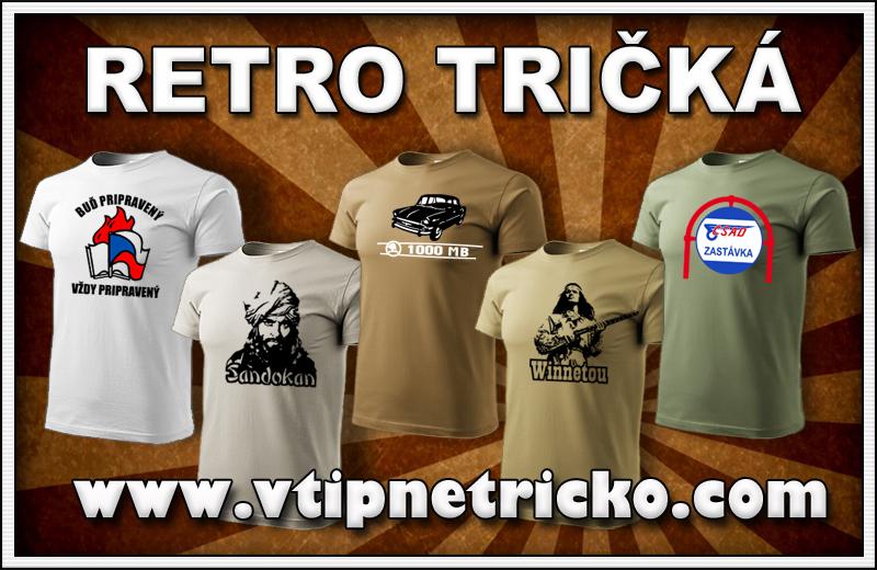 Retro tričká s originálnou potlačou Sandokan, Winnetou, Škoda, Tatra, Trabant